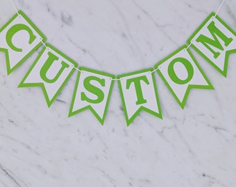 Lime Green & White Custom Personalised Bunting - Birthday Wedding Engagement Baby Shower Baptism Hens Bucks Party Banner Garland Sign