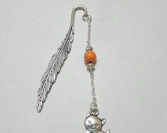Small bookmark feather cat Orange