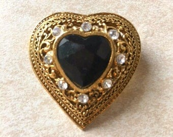 Vintage 1928 brooch, Vintage brooch, Heart-shaped pin, Heart brooch, Gold and black pin, Vintage heart brooch, 1928 gold pin, gift for her