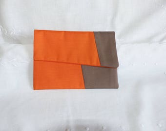 Original clutch orange taupe with flap