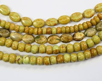 Gemstone, Rondelle, Yellow Beads, Medium Beads, Mustard Yellow, Tiny Ovals, DIY, BS285
