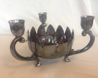 Vintage Leonard Silver Plate Lotus Flower Bowl and 3 Candlestick Holder