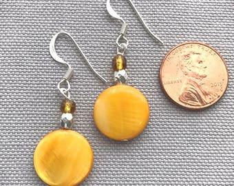 Yellow Coin Drop Earrings