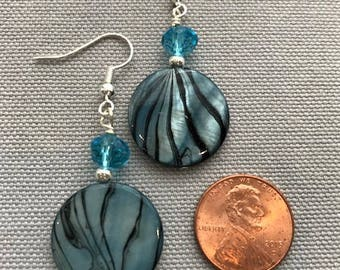 Aqua Round Shell and Glass Bead Earrings