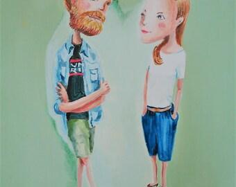 Custom Portrait illustration for Couples by EkakiElly