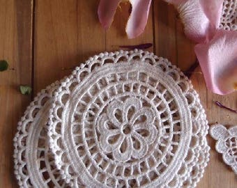 """Pack of 6 - 5"""" Inch Ivory Round Crochet Lace Doily - Crocheted Doilies"""