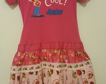 "OOAK Upcycled Strawberry Shortcake ""3 Generations"" Tee Shirt Dress"