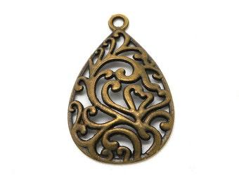 Drop pendant style bronze metal