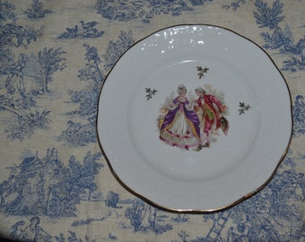French Limoges Veritable Porcelaine Tea plates Courting couple