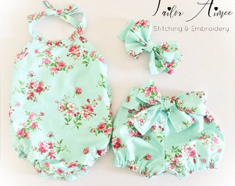 Baby girl floral and mint polka dots outfit, bow shorts, bow headband, halter onesie