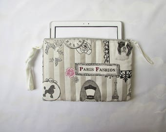 Padded strap cover, eReader Tablet 10 inches, 'Paris fashion' vintage fabric dogs, ecru velvet, hand made layering zipped case