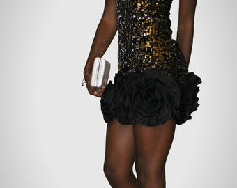 Strapless Black Sequin Party Dress