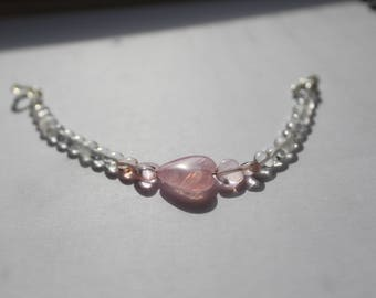 Pink White Heart Bracelet