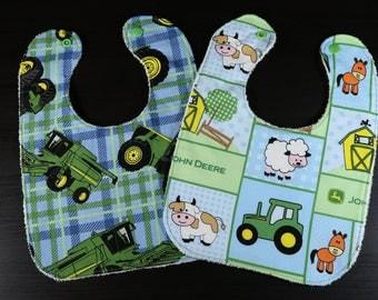 Baby Bib: John Deere - Tractor - Cute Farm Animals | Girl, Boy, Neutral Baby Drool Bib