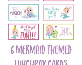 Printable Mermaid Lunchbox Notes (Digital Download)
