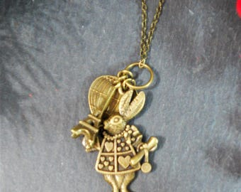 Alice in Wonderland charm necklace Steampunk jewelry teenage girls gifts christmas gift for her quirky jewelry white rabbit Australian made