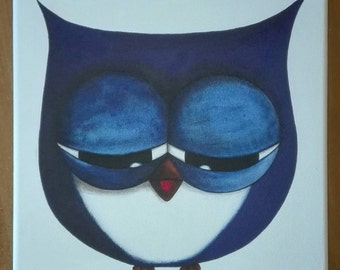 Blue OWL painting contemporary