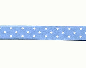 Satin Ribbon fancy sky blue with white polka dots by the yard