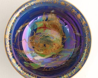 Crown Devon ROYAL GEORGE Lustre Bowl - Decorated with Galleon Ship, Birds - Blue/Purple Lustrine