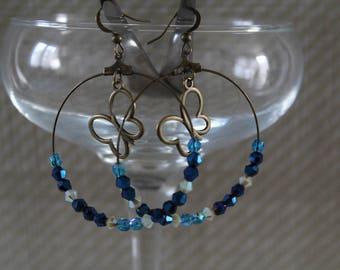Blue Bead hoop earrings