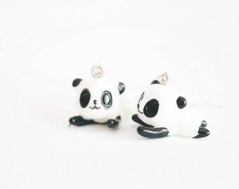 Resin PANDA long earrings