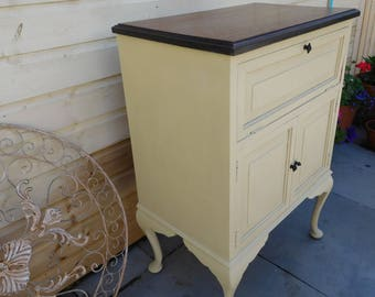Vintage cupboard cabinet cream hand painted cabriole legs solid wood