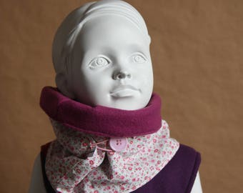 Snood with button - cowl scarf made of fleece and cotton