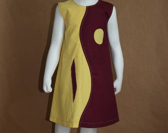 Any hesitation - Burgundy and yellow dress girl 3 years