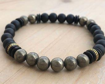 Men's Prosperity Bracelet, Pyrite Bracelet, Black Onyx Bracelet, Mala Bracelet, Yoga Bracelet, Spiritual Bracelet, Energy Bracelet
