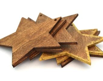 Set of 6 Christmas ornaments golden brown stars 7 cm
