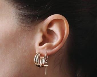 Gold Hoop Earrings, Thick Hoop earrings, Simple Hoop earrings, Gold Plated, Large Hoop Earrings, Gold Hoops