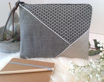 Pouch with leather strap, cotton, linen and silver lame linen mix.