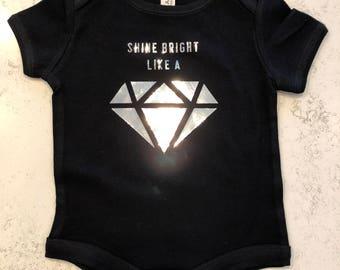 FREE SHIPPING Shine Bright Like a Diamond Onesie/ Metallic diamond onesie