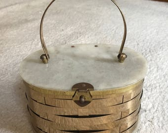 1950s Gold Weave Marble Top Lucite Purse