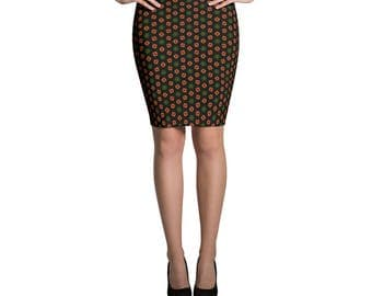 Christmas Print Fitted Skirt | Black Red Green & Gold Print Skirt | Christmas Party Skirt | Holiday Skirt | Christmas Confetti Pencil Skirt
