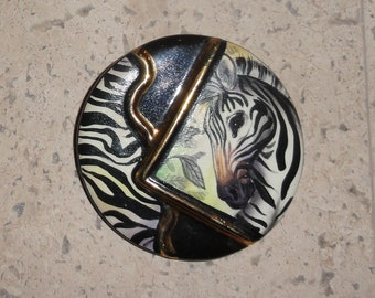Unique Vintage Round Signed Ceramic Zebra Brooch Pin with Gold Accents 1980s Hand Painted