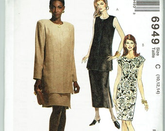 McCall's 6949 Unlined Jacket and Dress in 2 Lengths Sizes 10-12-14 Unused VIntage Sewing pattern