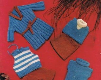 Original Vintage Marriner Doll Clothes Knitting Pattern 1228: Dolly And Teddy Outfits.