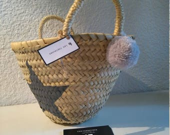 Small basket/bag child star and tassel grey the hearty
