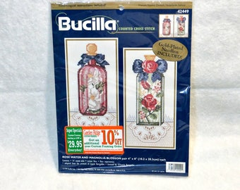 "Bucilla Counted Cross Stitch Kit | ""Rose Water and Magnolia Blossom"" 
