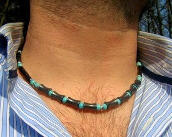 COLLIER Homme pierre TURQUOISE, Hématite noir bambou,collier perles ethnique boho mala,Cristaux guérison,protection, cadeau homme