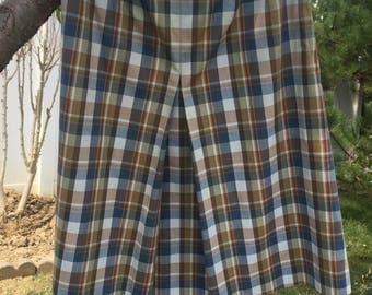 1960's plaid skirt with front pleat.