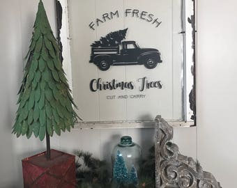 Farm Fresh Christmas Trees vintage window sign