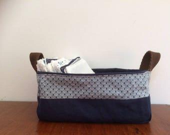 storage basket, blue and white