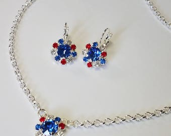 Red, White and Blue Swarovski Crystal Necklace and Earring Set- Silver Plated
