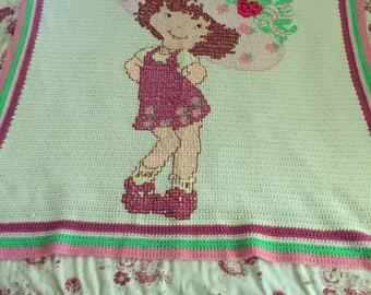 Beautiful Straberry Shortcake Crocheted Blanket