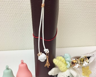 Monkey fist knot planner charm / purse charm / key ring with rose gold Eiffeltower