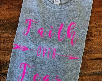 Faith Over Fear Pink and Grey Tee-Shirt