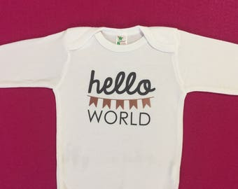 Hello World Onesie | Rose Gold and Charcoal Onesie