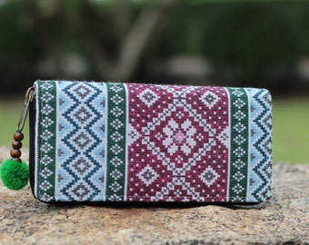 Womens Bohemain Wallet   Wallet Womens    Purse   Long Wallet     Zip Wallet   Boho Wallet    Vegan Wallet   Hippie Wallet  Gift For Her